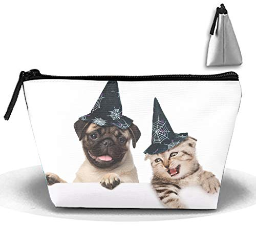 Halloween Pug And Cat Women's Makeup Organizer Men's Shaving Kit for Travel Accessories, Shampoo, Cosmetic, Personal Items ()