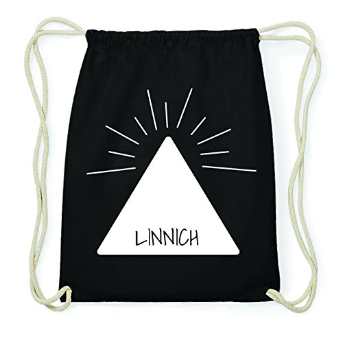 JOllify LINNICH Hipster Turnbeutel Tasche Rucksack aus Baumwolle - Farbe: schwarz Design: Pyramide 9wzF3vA
