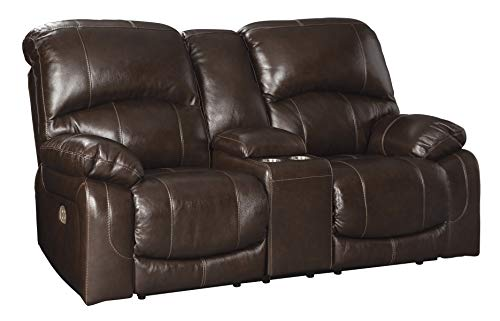 Signature Design by Ashley U5240218 Hallstrung Power Reclining Loveseat with Console, Chocolate