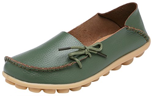 (Serene Womens Green Leather Cowhide Casual Lace Up Flat Driving Shoes Boat Slip-On Loafers - Size 7.5)