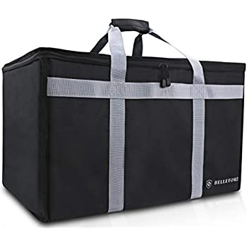 Insulated Food Delivery Bag - XXL Waterproof Warmer Cooler Grocery Storage - Restaurant Buffet Server, Warming Tray, Lunch Container Store - Steamer, Pizza Box, Chafing Dish & Casserole Carrying Case