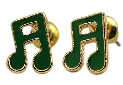Note Eighth Gold (Green an d Gold Colored Eighth Note Earrings)