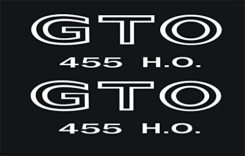 - Graphicsplus123 Pontiac GTO 455 H.O. Fender Wing Decals 1968-73 (White)
