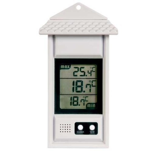 Digital max/min thermometer for conservatories, greenhouses & grow rooms (White)