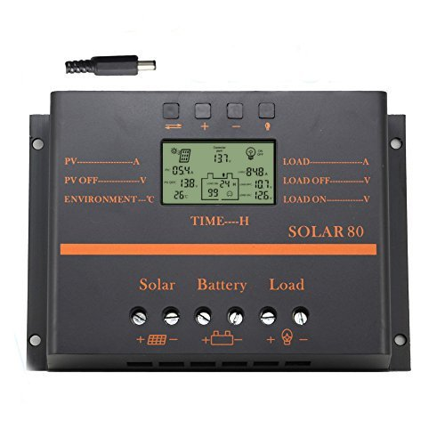 Y-SOLAR 80A Solar Charge Controller, 12V/24V 960W/1920W Battery Charge Regulator with LCD Display 5V USB Mobile Charger Output Enhanced Heat Sink (80A)