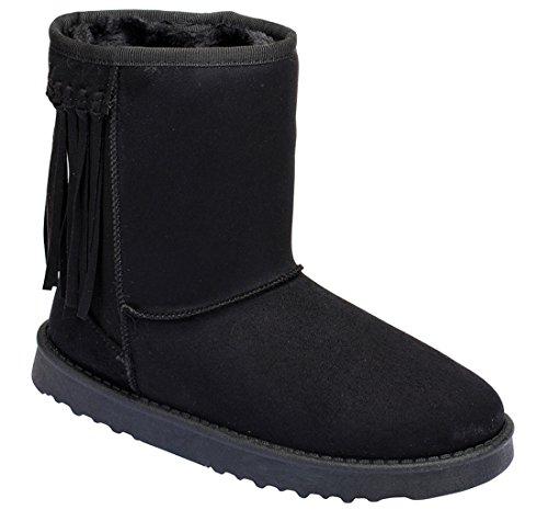 [Fringe Furry Vegan Shearling Suede Fleece Women's Flat Boot] (Furry Boots Cheap)