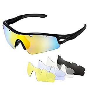 OMorc Cycling Sunglasses with 5 Interchangeable Lenses (1 Polarized Sunglass and 4 Common Sunglasses), 100% UV400 Protection for Biking, Golfing, Driving, Fishing, Climbing - Black Grey