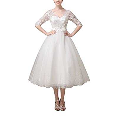 AbaoWedding Lace V-neck Half Sleeves Short Tea Length Wedding Dress Evening Gown
