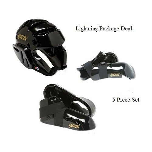 Lightning Black Karate Sparring Gear Package Deal - Adult Small (Gear Package Set)