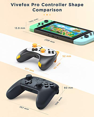 Wireless Switch Pro Controller for Nintendo Switch/Lite - Vivefox Switch Remote Joypad Gamepad Replace for Nintendo Switch Cartoon Controller with Gyro Axis, Vibration, Turbo, Headphone Jack