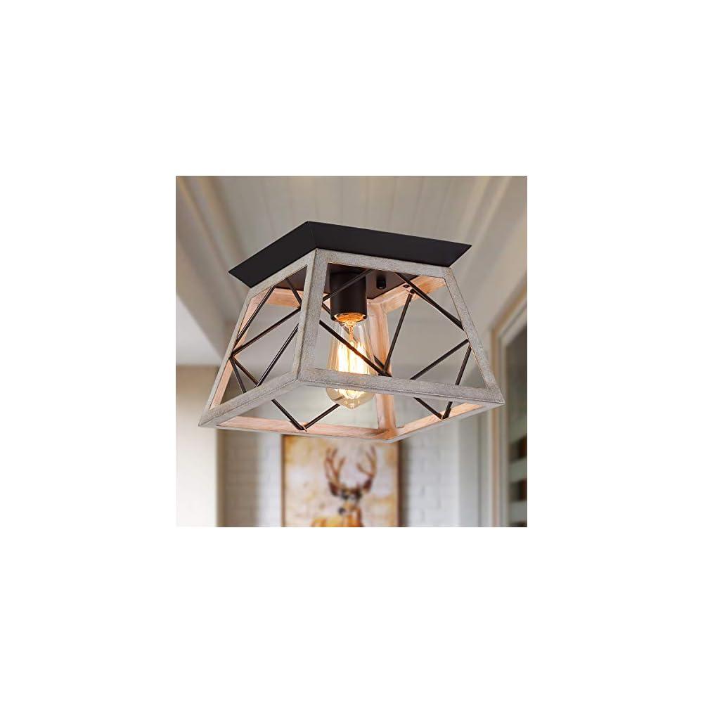Q&S Rustic Farmhouse Ceiling Light Fixture Flush Mount,Vintage Ceiling Lights,White Ceiling Lights for Hallway Entryway…