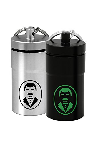 Butler Bottle Holder - Ultra-Portable Stash Jar - Small Airtight Aluminum Smell-Proof Container with Handsome Butler Design for Men & Women - Screw Lid Lock Secures Medications, Herbs, Pills & More - Keychain Fob – 2 Pack