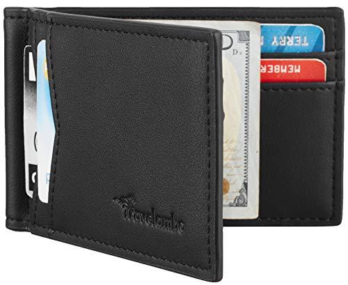 Travelambo Leather RFID Blocking Slim Minimalist Front Pocket Wallet Money Clip (Ace Black)