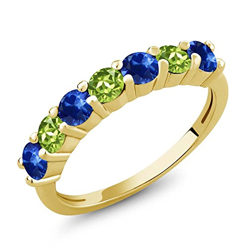 Gem Stone King 1.50 Ct Round Blue Sapphire Green Peridot 18K Yellow Gold Plated Silver Anniversary Ring (Size 7) ()