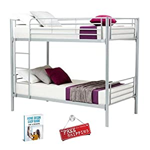 Modern Bunk Beds for Kids Adults Metal Frame Twin with Ladder Silver for Girls Boys Loft Bunk Beds & eBook by AllTim3Shopping