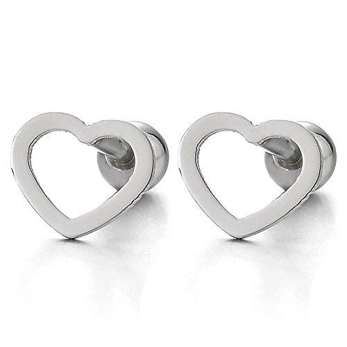 Flat Open Heart Earring - Womens Girls Stainless Steel Flat Open Heart Stud Earrings, Screw Back, 2Pcs