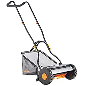 "VonHaus 15"" Reel Mower - Manual Hand Push Lawn Mower with 23L Detachable Grass Catcher Bag"