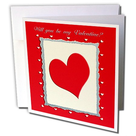 Beverly Turner Valentine Design - Red Heart Frame, Will you be my Valentine - Greeting Cards-1 Greeting Card with envelope (gc_40545_5)