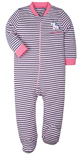(BUNNY MINI Baby Boys Footed Pajamas Cotton Sleepers Yarn-Dyed Striped Toddler Pajama's(9-12 Months,Unicorn))
