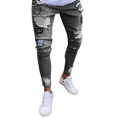 Distrutti Fit Look Jeans Attillati Uomo Pantaloni Con Chern Streetwear Stretch In Grau Slim Denim Da Fori Skinny Usato qg6wqZ7