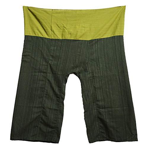 MissBangkok 2 Tone Thai Fisherman Pants Yoga Trousers Free Size Plus Size Cotton Drill Striped Green and Dark Green