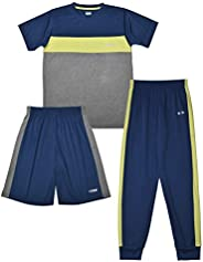 Hind Boys 3-PC Athletic Performance T Shirts, Shorts, and Joggers for Boys