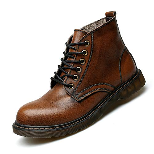 Smart.A Men's Casual Martin Boots Low to Help Wild Short Boots Retro Fashion wear-Resistant Work Boots(Brown & 39/6 D(M)) ()