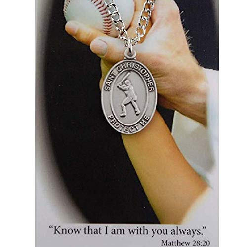 Sports Prayer Card - Boys Baseball Sport Medal Necklace and Always with You Prayer Card Religious Saint Christoper Sport Medal