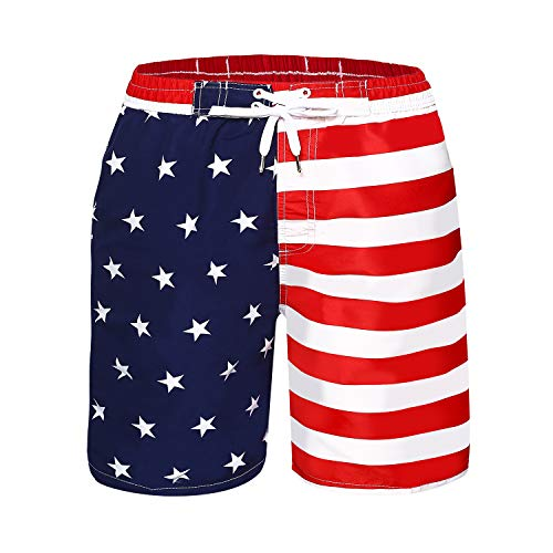 Kute 'n' Koo Boys Swim Trunks, UPF 50+ Quick Dry Boys Swim Shorts for Big Boys and Toddlers, Size from 2T to 18/20 (Small (6-8), USA (Blue and White))