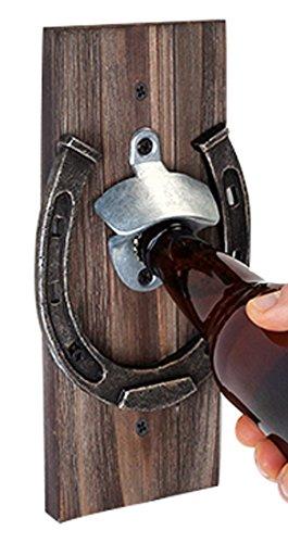 Foster and Rye Wall Mounted Horseshoe Bottle Opener, wood