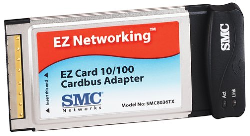 SMC SMC8036TX EZ Card 10/100, 32-bit 10/100Mbps Dongle-Less CardBus Adapter with RJ-45 Connector