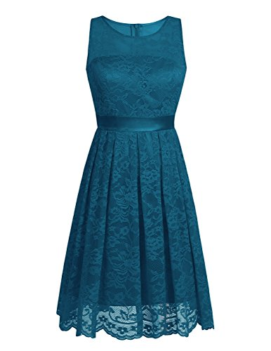 TiaoBug Women Floral Lace Bridesmaid Short Dress Evening Party Cocktail Gown Peacock Blue 4 (Evening Blue Dress Peacock)