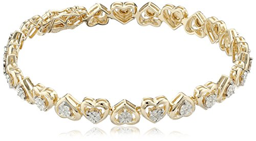 18k Yellow Gold Plated Sterling Silver Genuine Diamond Miracle Plate Heart Bracelet, 7.25