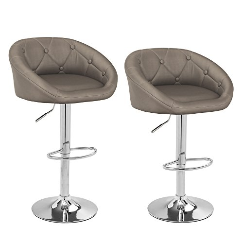 Joveco 360 Degree Swivel Adjustable Button Tufted Bar Stools - Set of 2 (Gray)