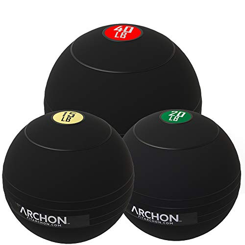 ARCHON Training 15 LB, 20 LB, and 40 LB Pound Slam Ball Set | Crossfit Workout | No Bounce Exercise Ball | Gym Equipment Accessories | Plyometric Exercise | Cardio | Jam Ball | Squats | Medicine Ball