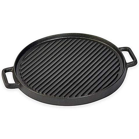 "Basic Essentials Durable 12"" Reversible Cast Iron Grill Pan/"