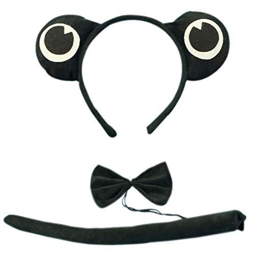 Marlegard 3PCs Funny Dalmatian Milk Leopard Costume Headband Ear with Tail Tie (Black -
