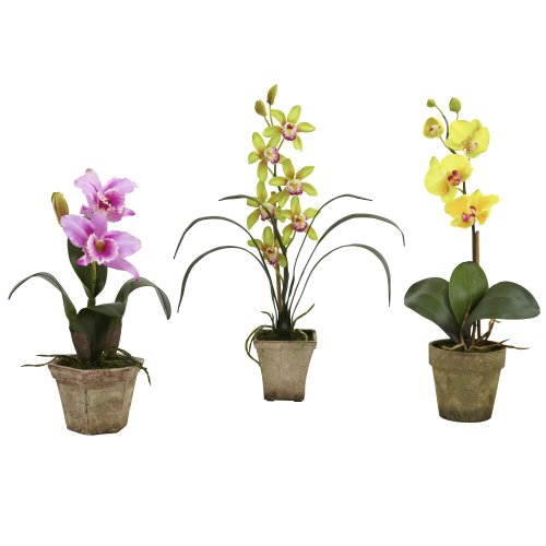 Nearly Natural 4985-A2-S3 Potted Orchid Mix, Lavender/Gold/Yellow, Set of 3