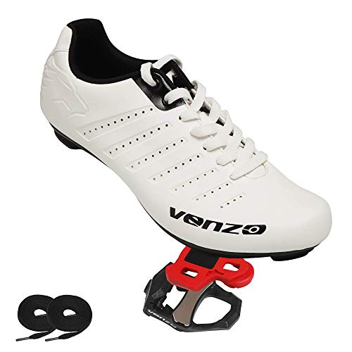 Venzo Bicycle Men's Lace Road Cycling Riding Shoes Look KEO Compatible Pedals & Cheats for Outdoor or Indoor - 45 (Best Road Bike Pedals And Shoes)