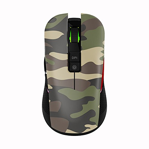 TENMOS M600 Rechargeable Wireless Gaming Mouse Optical LED 2.4GHz Computer Mouse with Nano USB Receiver, 3 Adjustable DPI, 7 Buttons Compatible with PC/Laptop/Computer (Jungle Camouflage)