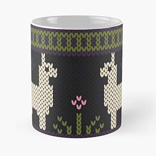 (Knit Faux Llama Alpaca - Ceramic Novelty Mugs 11 Oz, Funny)