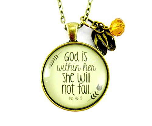 God is Within Her She Will Not Fall 24 Christian Psalm Necklace for Women 1.20 Vintage Bronze Round Glass Pendant Flip Flop Charm