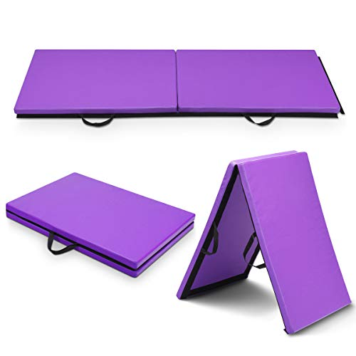 Giantex 2'x6'x1.5'' Gymnastics Mat Thick Two Folding Panel Gym Fitness Exercise (Purple) (Mat Rest Thick 2')