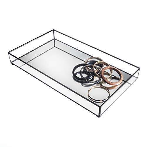 J Devlin TRA 108 Glass Jewelry Tray Vanity Organizer Dresser Tray with Mirror Bottom ()