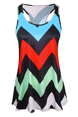 Kumer Women's Casual Racerback Print Zig-Zag Tank Top Loose Sleeveless Tunic Shirt