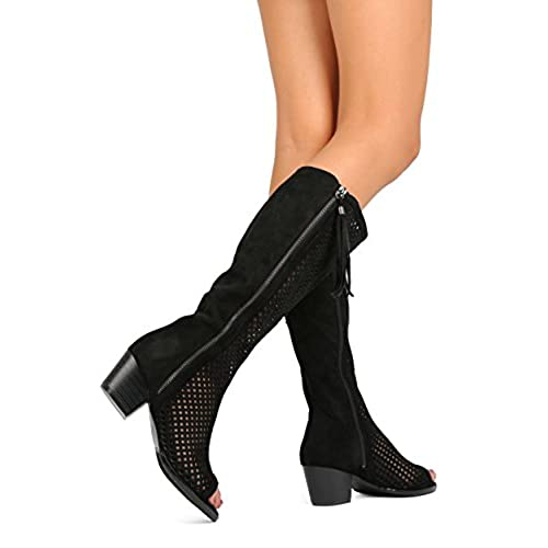 d23a7940299 free shipping Nature Breeze FA67 Women Faux Suede Knee High Peep Toe Perforated  Chunky Heel Boot