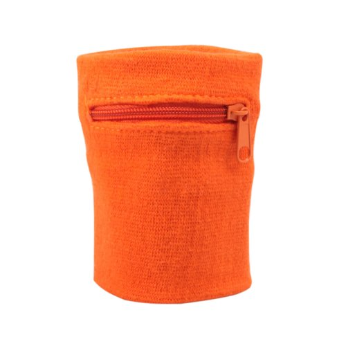 Suddora Zipper Wrist Pouch - Sweatband/Wristband Wallet for Keys, ID, Cards, Cash (Orange)