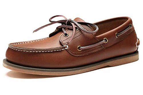HAPPYSHOP TM Mens Genuine Leather Slip-On Loafer Boat Shoes English Fashion Shoes Brown Color L0yobBE
