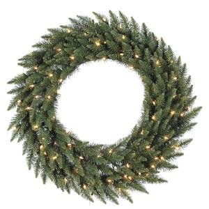 Vickerman Warm White LED Lights Frosted Bellevue Alpine Artificial Christmas Wreath, 36-Inch