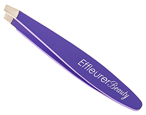 Effleurer Beauty Precision Mini Tweezers - 7 Exciting Colors To Choose From!! - Professional Stainless Steel Small Slant Tip Eyebrow Tweezer (Purple Color)